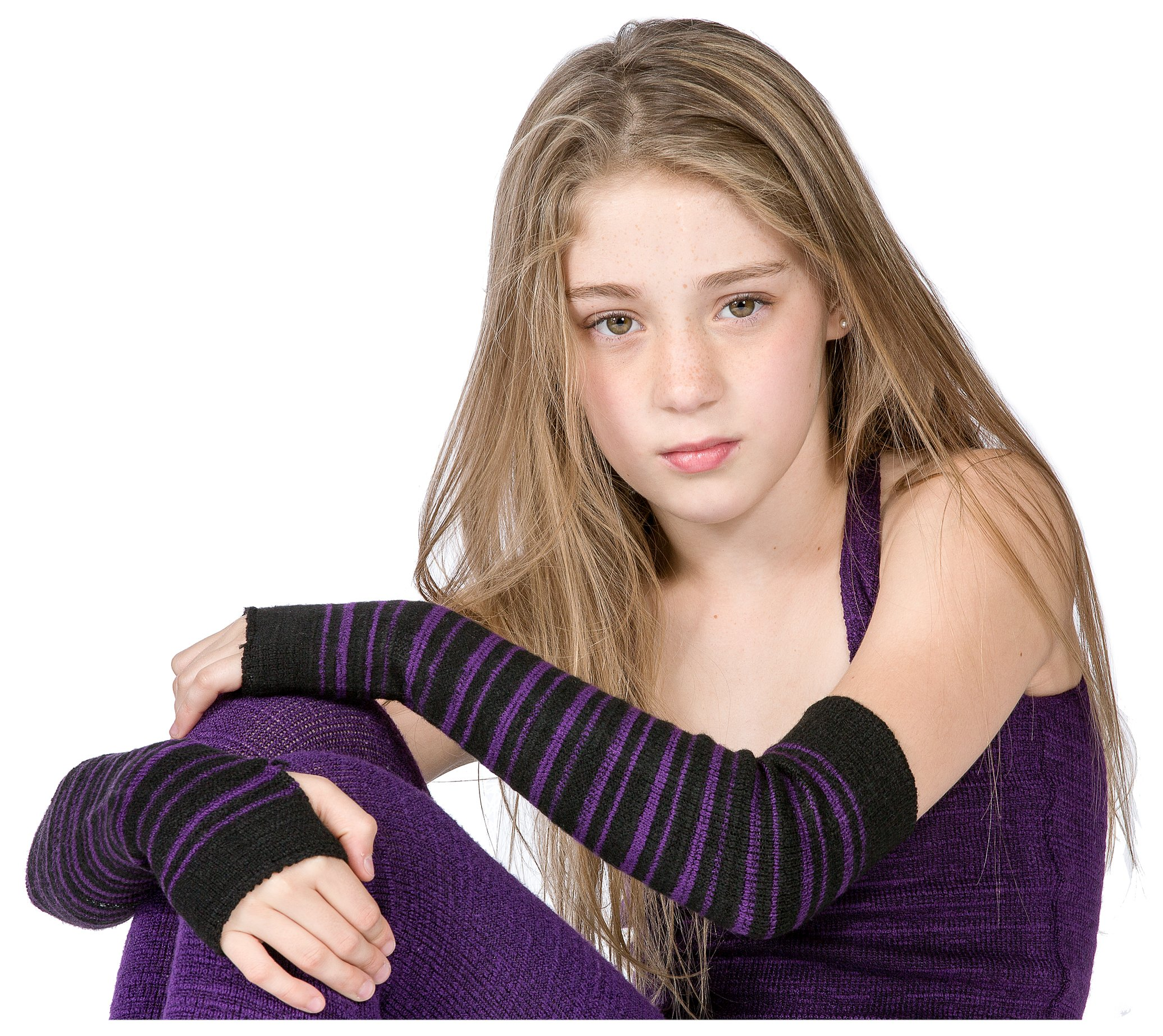 Black & Purple Striped Arm Warmer KD dance New York Sexy, Fashionable & Fingerless Arm Warmers Thumb Hole #MadeInUSA Happy New Year 2018 @KDdanceNewYork