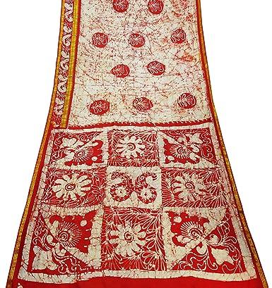 PEEGLI Vestido Étnico Sari Rojo Vintage Para Mujer Patrón De ...