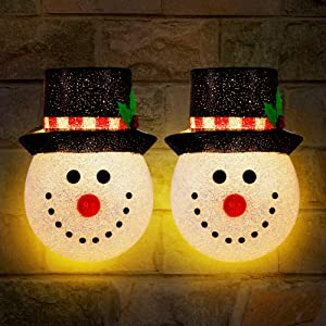 SOLLED 2 Pack Christmas Porch Light Covers, Holiday Snowman Porch Light Covers for Outdoor Christmas Decorations