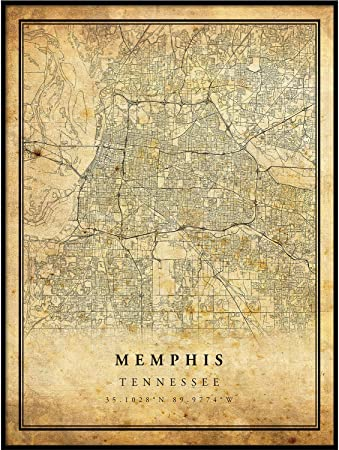 Memphis Map Vintage Style Poster Print Old City Artwork Prints Antique Style Home Decor Tennessee Wall Art Gift Old Map Print 24x36 Laliphrigall
