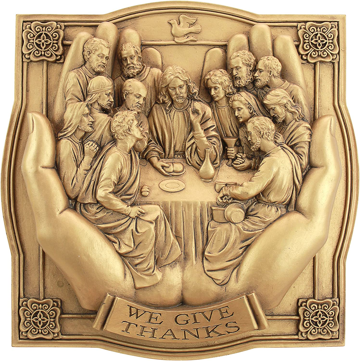 Design Toscano Giving Thanks Lord's Supper Wall Sculpture, Gold