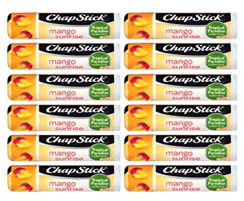ChapStick Tropical Paradise (Mango Sunrise Flavor, 0.15 Ounce) Lip Balm Tube, Skin Protectant, Lip Care, (1 Tray, 12 Sticks)