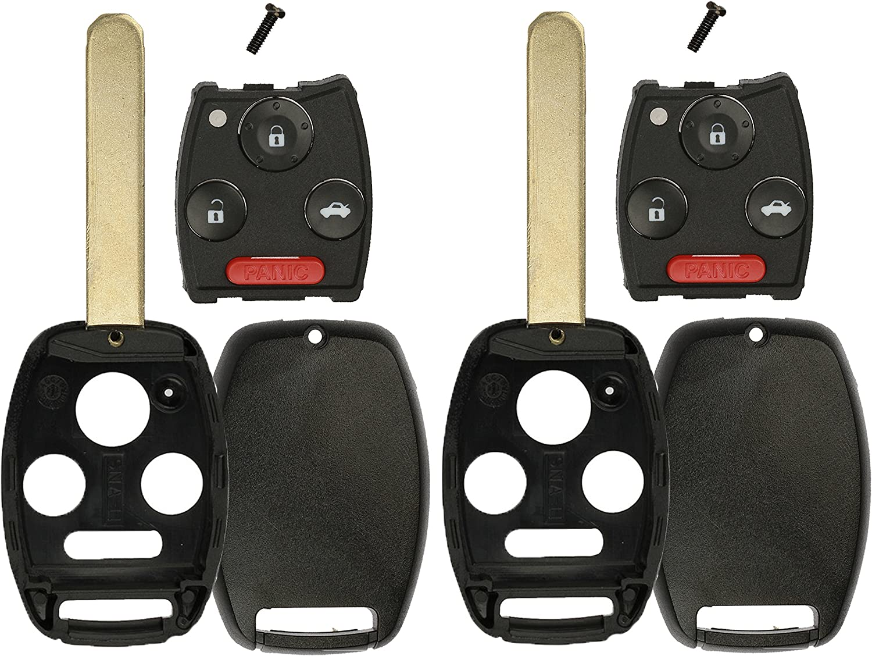 KeylessOption Keyless Entry Remote Fob Car Combo Flip Key Shell Case Pad Housing Uncut Blank Ignition Blade