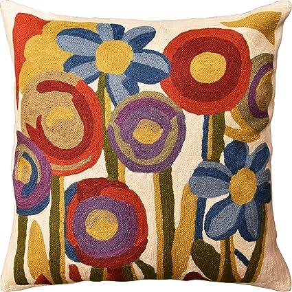 Amazon Kashmir Designs Floral Poppy Bloom Red Blue Decorative Best Poppy Floral Decorative Pillows