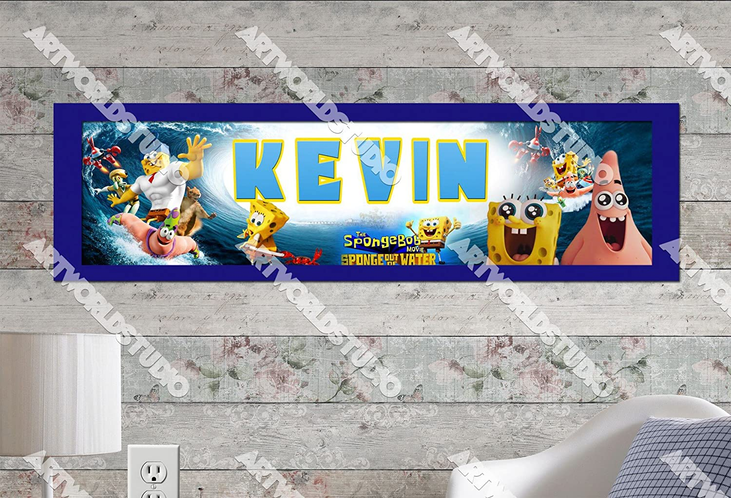 Personalized SpongeBob Squarepants Name Poster with Border Wall Decor Banner