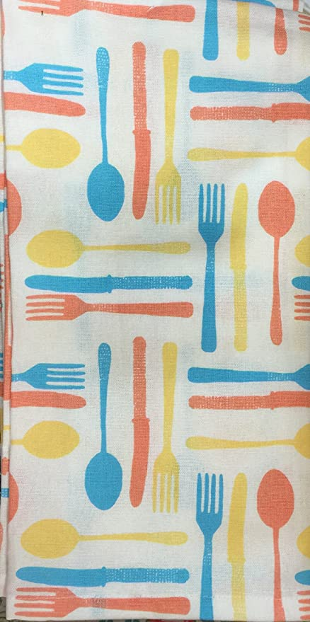 NEW KITCHEN HAND DISH TOWEL 100/% Cotton Utensils Fork Knifes /& Spoons