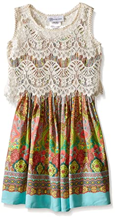 9bd7273d318 Bonnie Jean Little Girls' Tribal Printed Challis Lace Popover Dress, Green,  ...