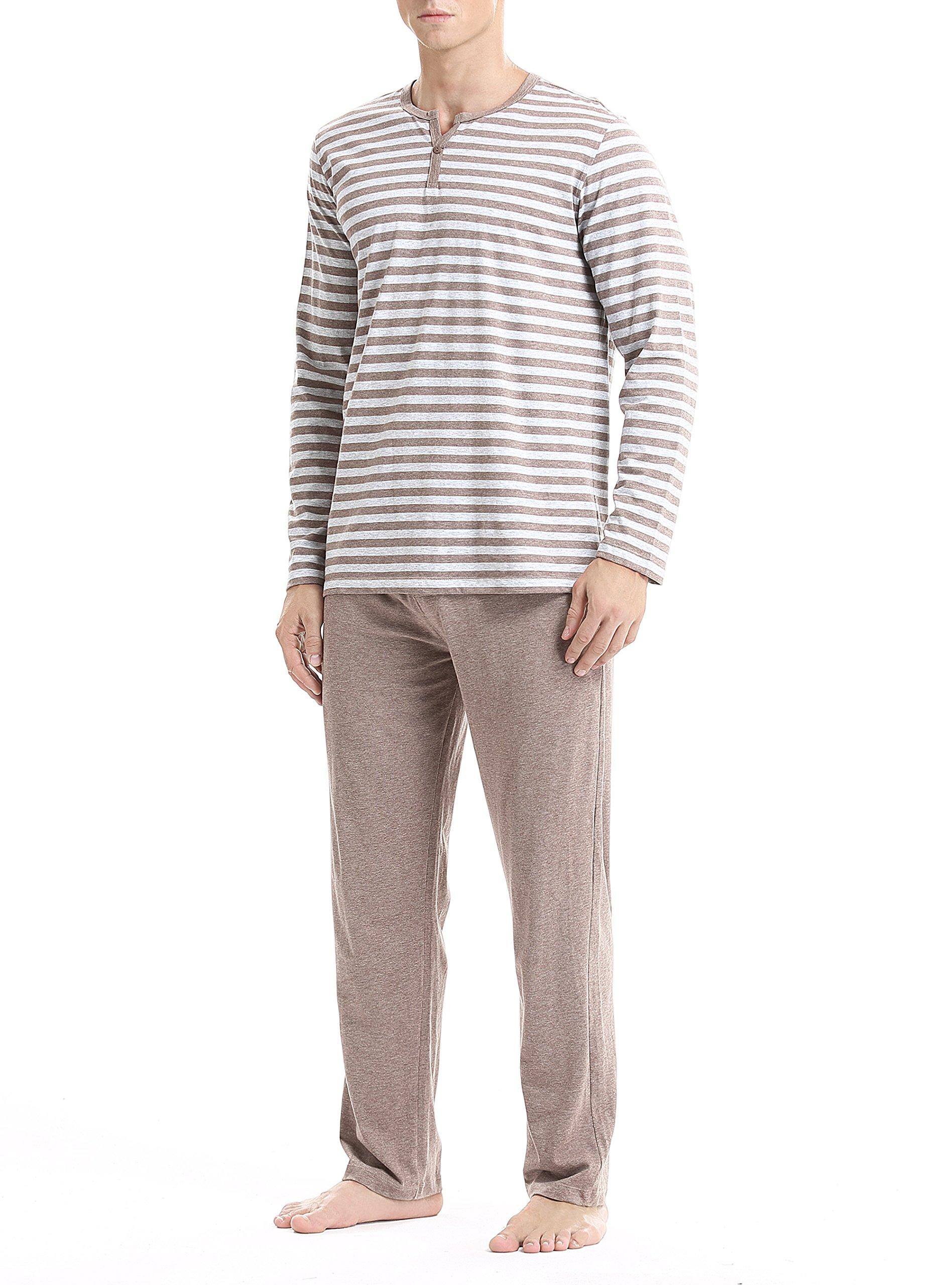 David Archy Men's Cotton Heather Striped Sleepwear Long Sleeve Top & Bottom Pajama Set (Heather Dark Coffee, L)