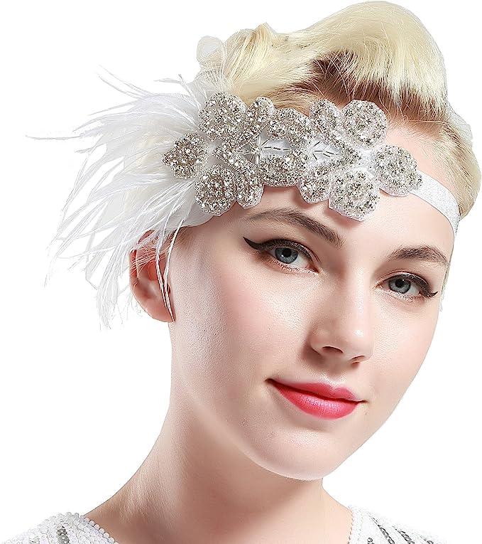 ArtiDeco 1920s Flapper Feather Headband 1920s Beaded Headpiece Great Gatsby 20s