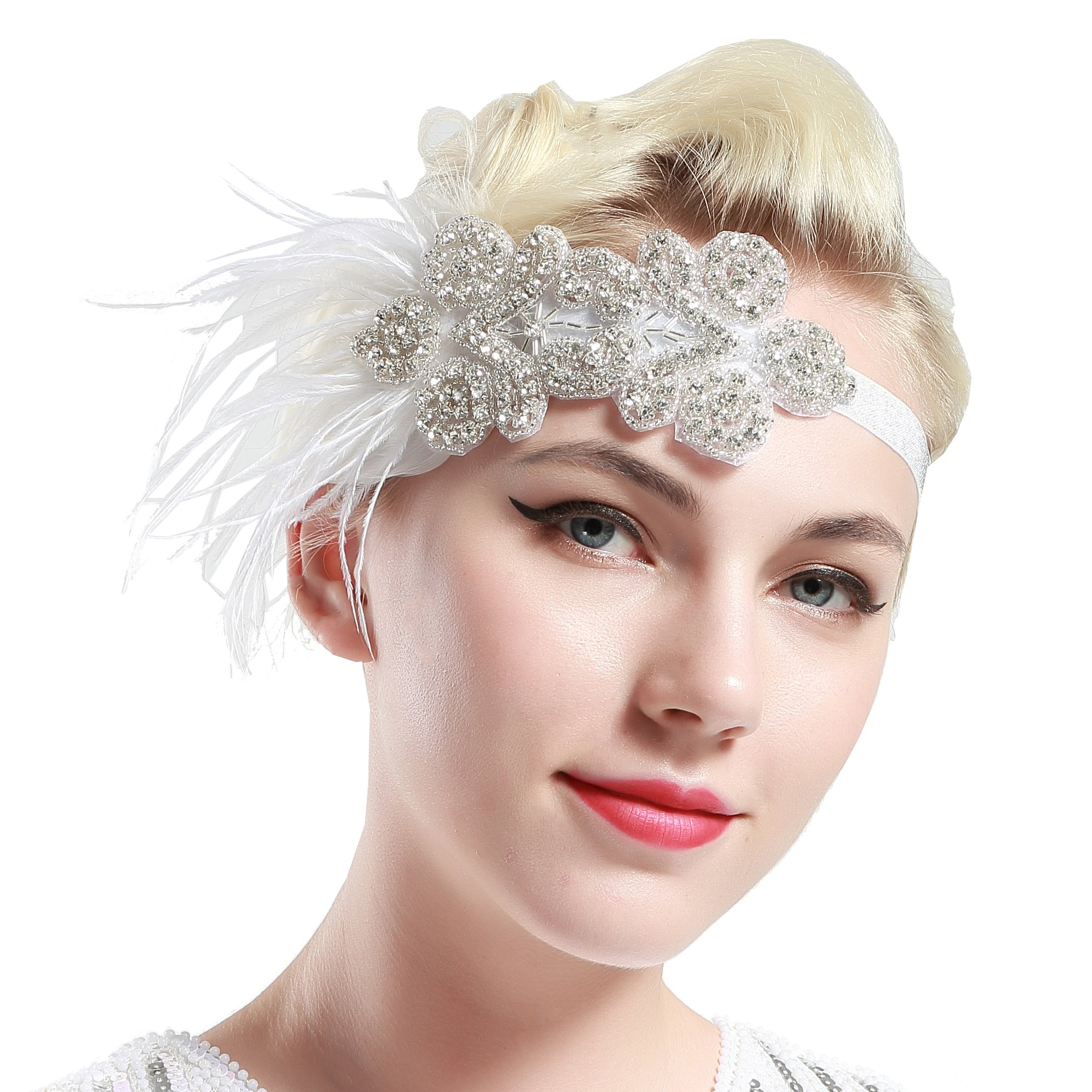 BABEYOND 1920s Flapper Headpiece for Great Gatsby Themed Wedding Roaring 20s Bridal Feather Headband 1920s Flapper Gatsby Hair Accessories (White-2)