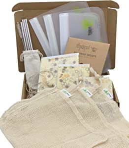 Nipaqui 17 PCS Zero Waste ECO Friendly Gift: Reusable Food Storage Bags, Reusable Beeswax Wrap, Mesh Bags, Reusable Straws. Gift for women and men.