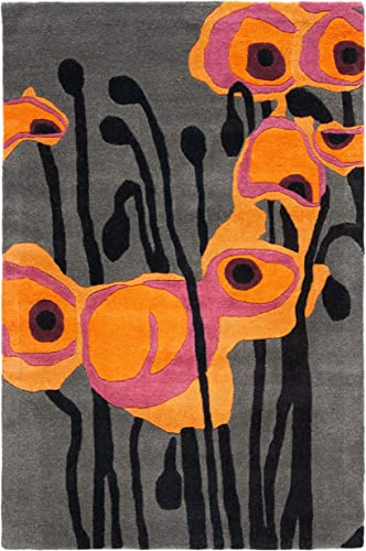 Safavieh Soho Collection SOH853B Handmade Abstract Grey and Orange Premium Wool Area Rug 2 x 3