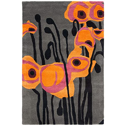 Safavieh Soho Collection SOH853B Handmade Abstract Grey and Orange Premium Wool Area Rug 2 x 3