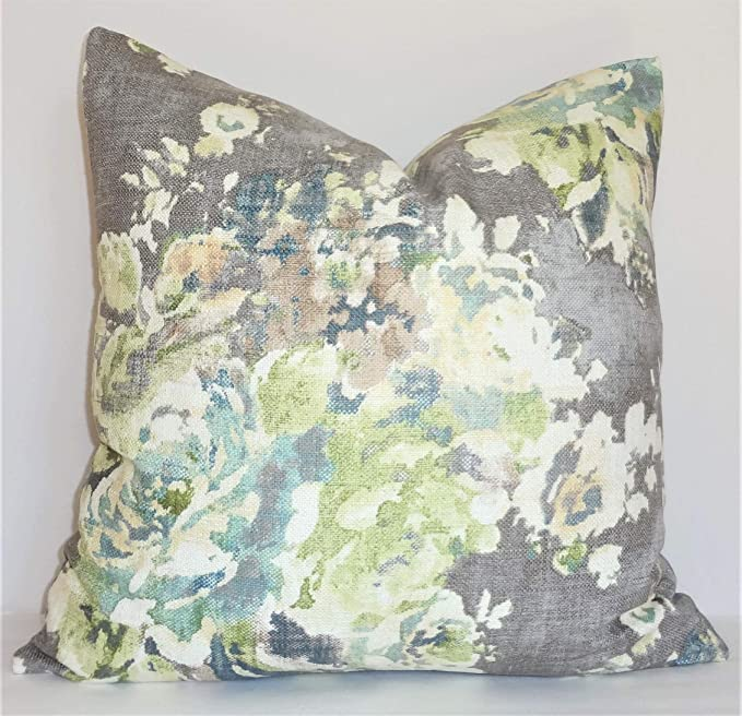 Celycasy As Seen On The Bachelor Taupe Grey Sage Green Blue Ivory Floral Pillow Cover Decorative Home Decor Size 18x18 18x18 Inch 45x45cm 18x18 Inch 45x45cm Home Kitchen Amazon Com