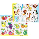 FabSeasons Colorful Wooden Fruits and Animals Blocks / Puzzle for Kids