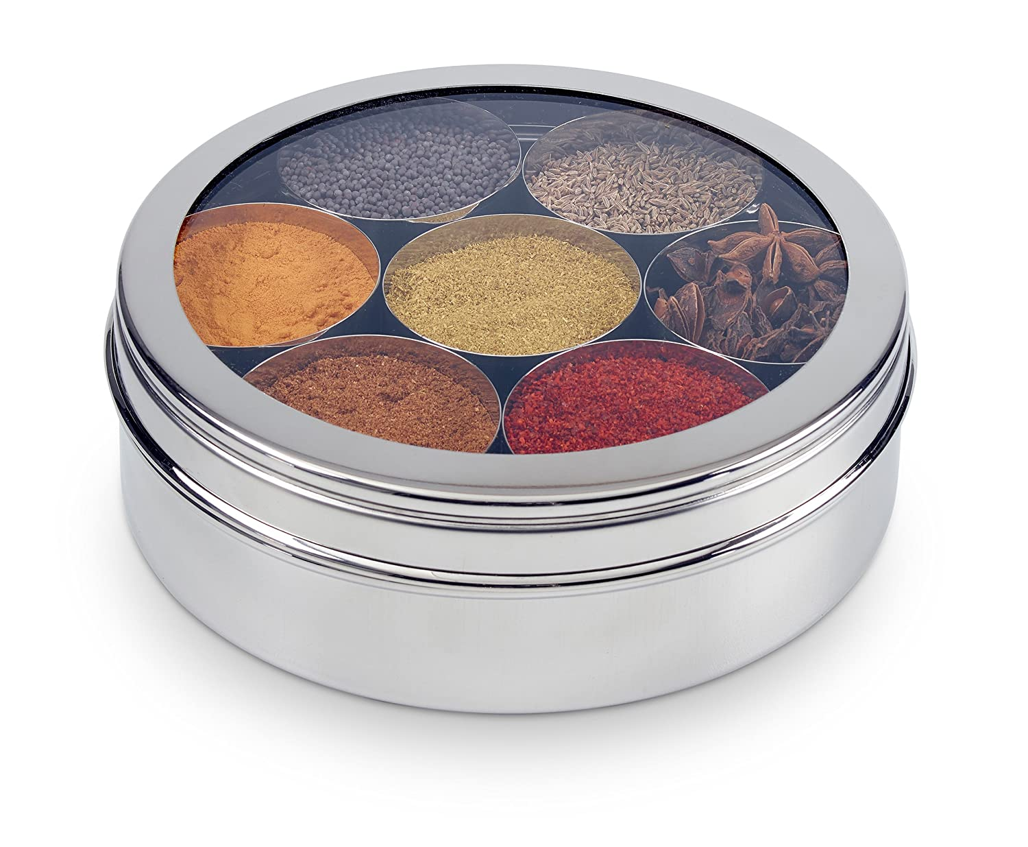 22cm Silver Zinel Stainless Steel Spice Box//Masala Dabba with 7 Comparments and Transparent Lid Size 5-22 Centimeters