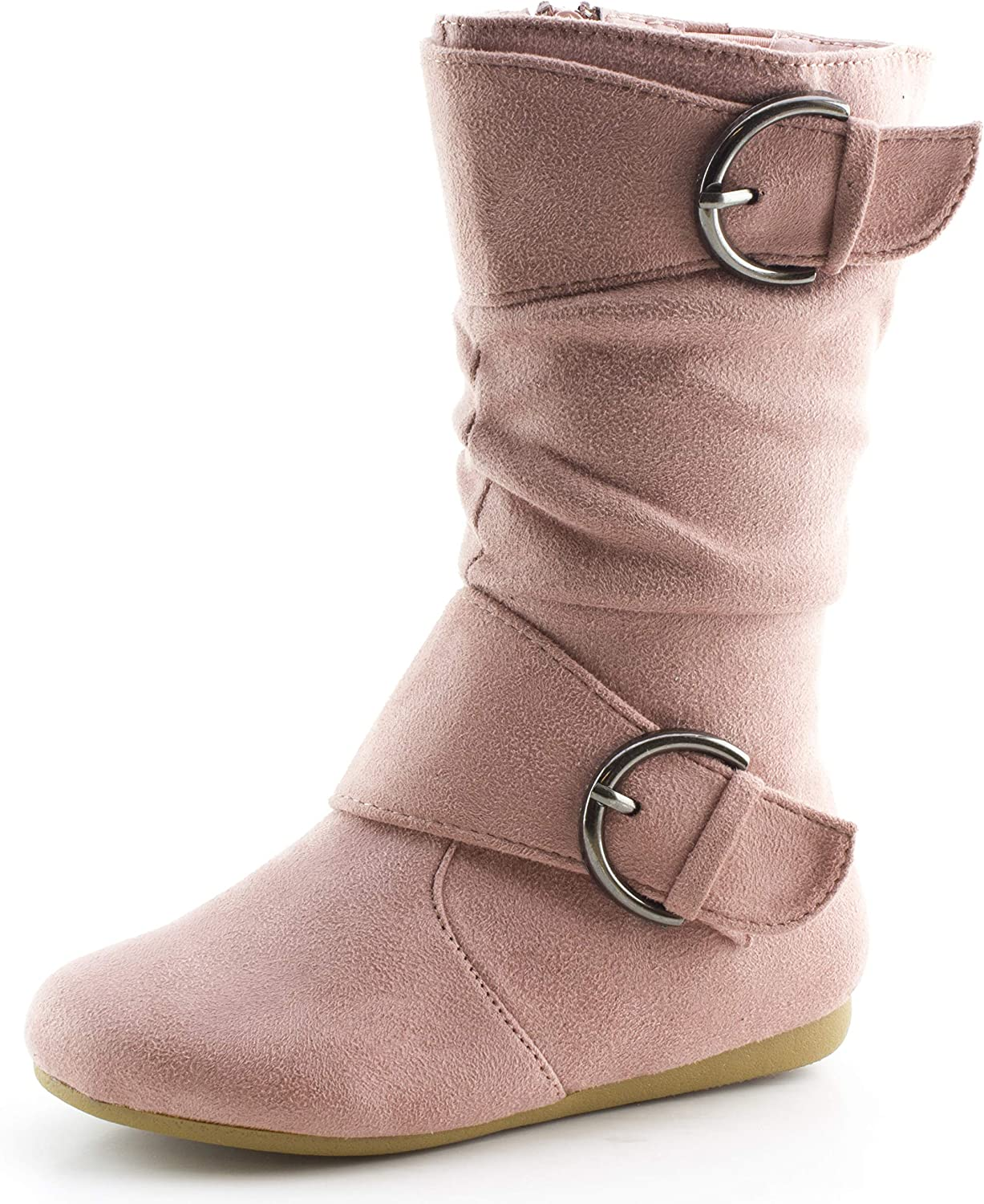 Girls Ankle Boots Kids Childrens Zip Up Mid Calf Brown Leather Look Shoes Size