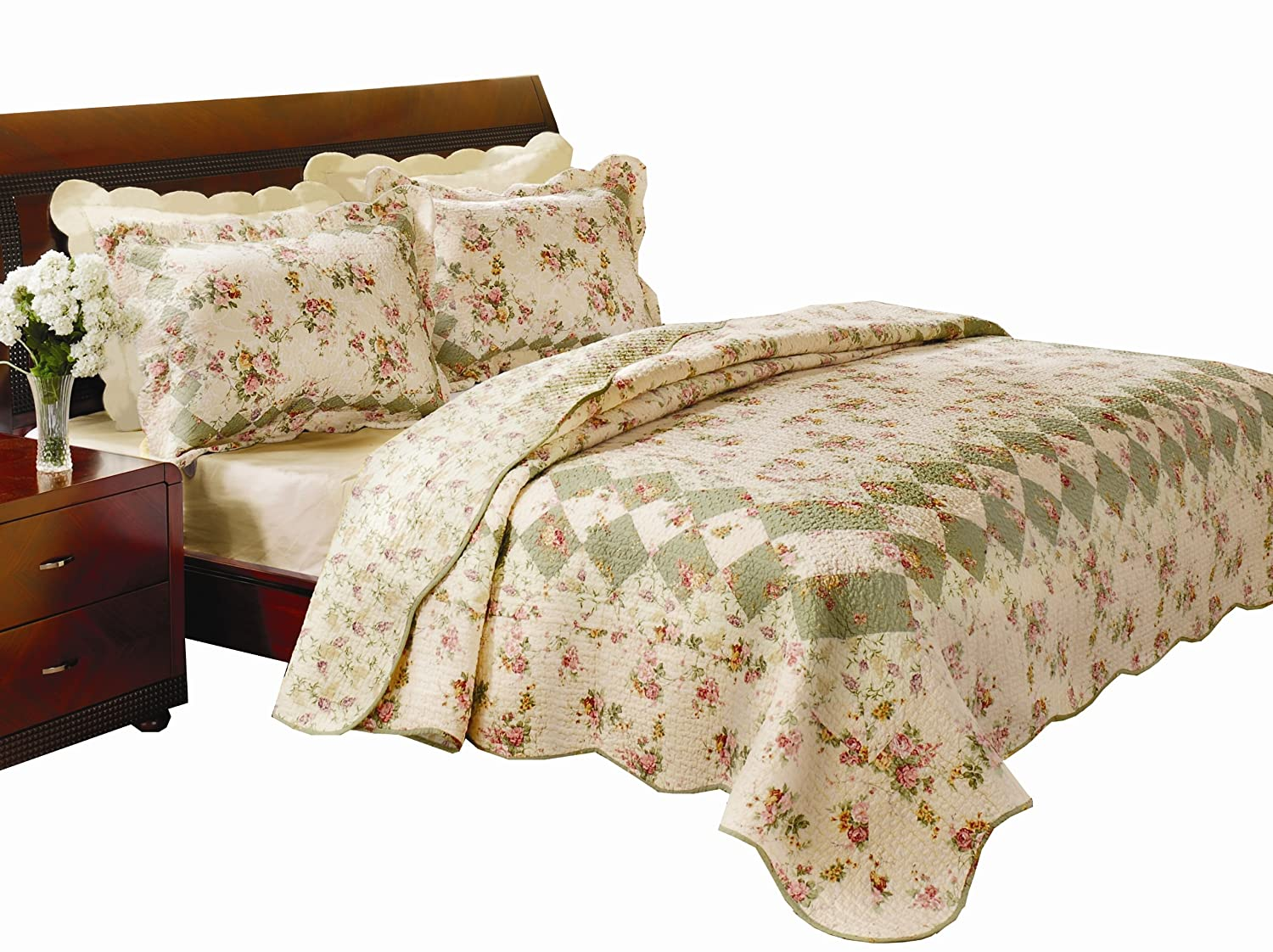 amazoncom greenland home bliss fullqueen quilt set home  kitchen -