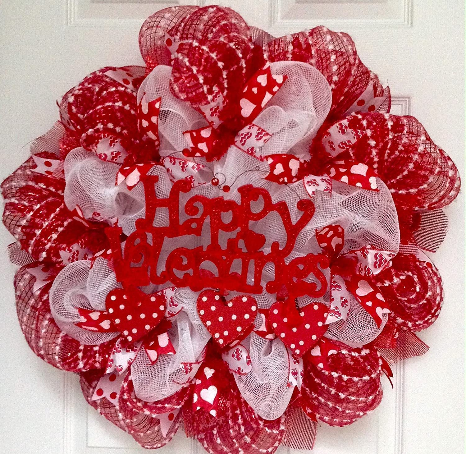 Happy Valentines Day Wreath With Dangling Hearts Handmade Deco Mesh