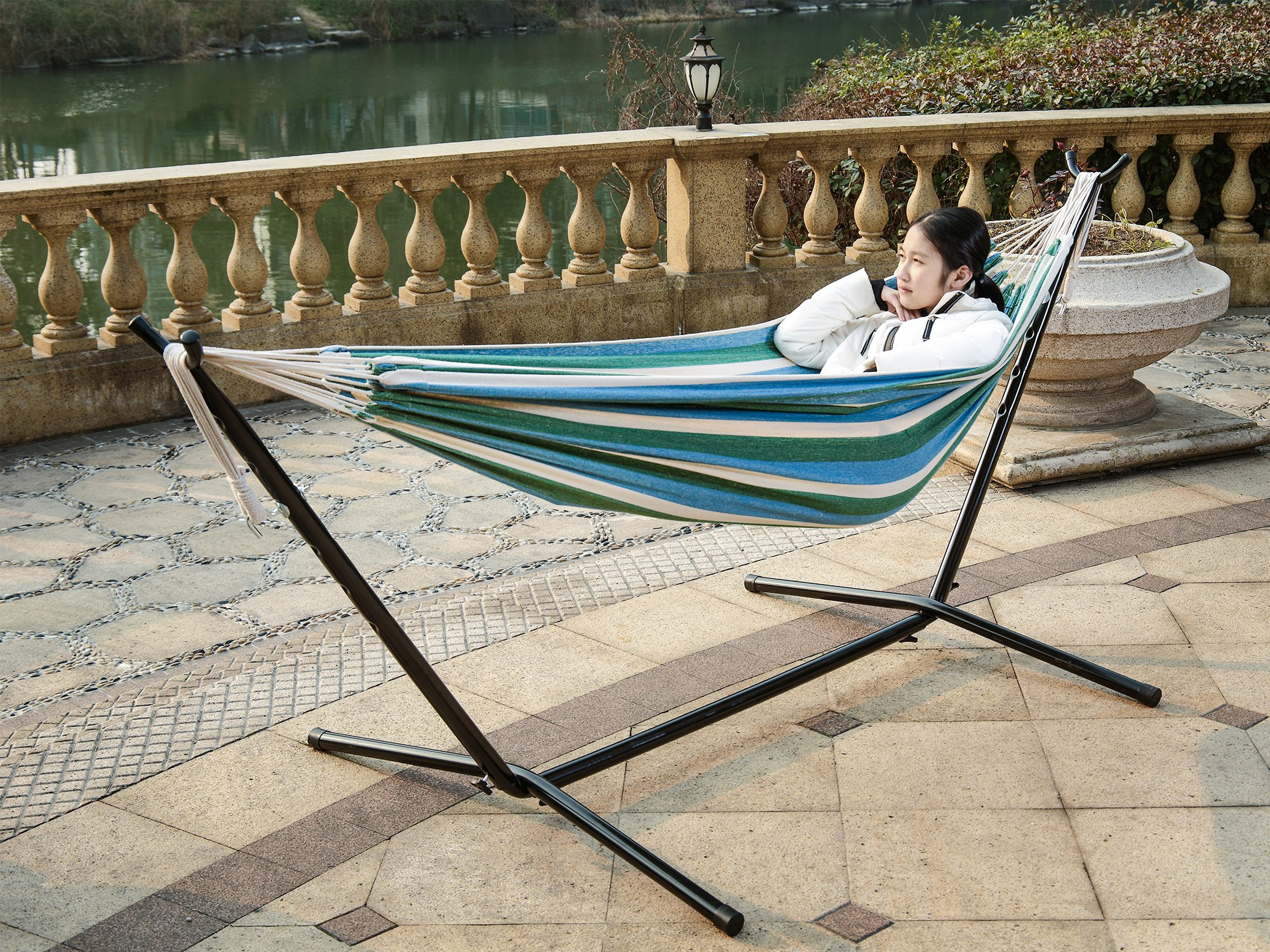 9 ft Double Hammock With Space Saving Steel Stand Two Adults Adjustable Hammock Bed Includes Portable Carrying Case 440 lbs Capacity