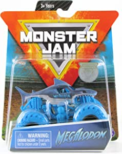 Monster Jam 2019 Nitro Neon Megalodon 1:64 Scale Diecast Monster Truck with Figure and Poster by Spin Master