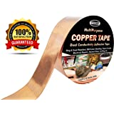 Copper Foil Tape with Dual Conductive Adhesive, 1 Inch x 15 Yards (45ft) - Slug & Snail Repellent, EMI Shielding, Electrical Repairs, Paper Circuits, Crafting, Stained Glass etc - Extra Long Roll