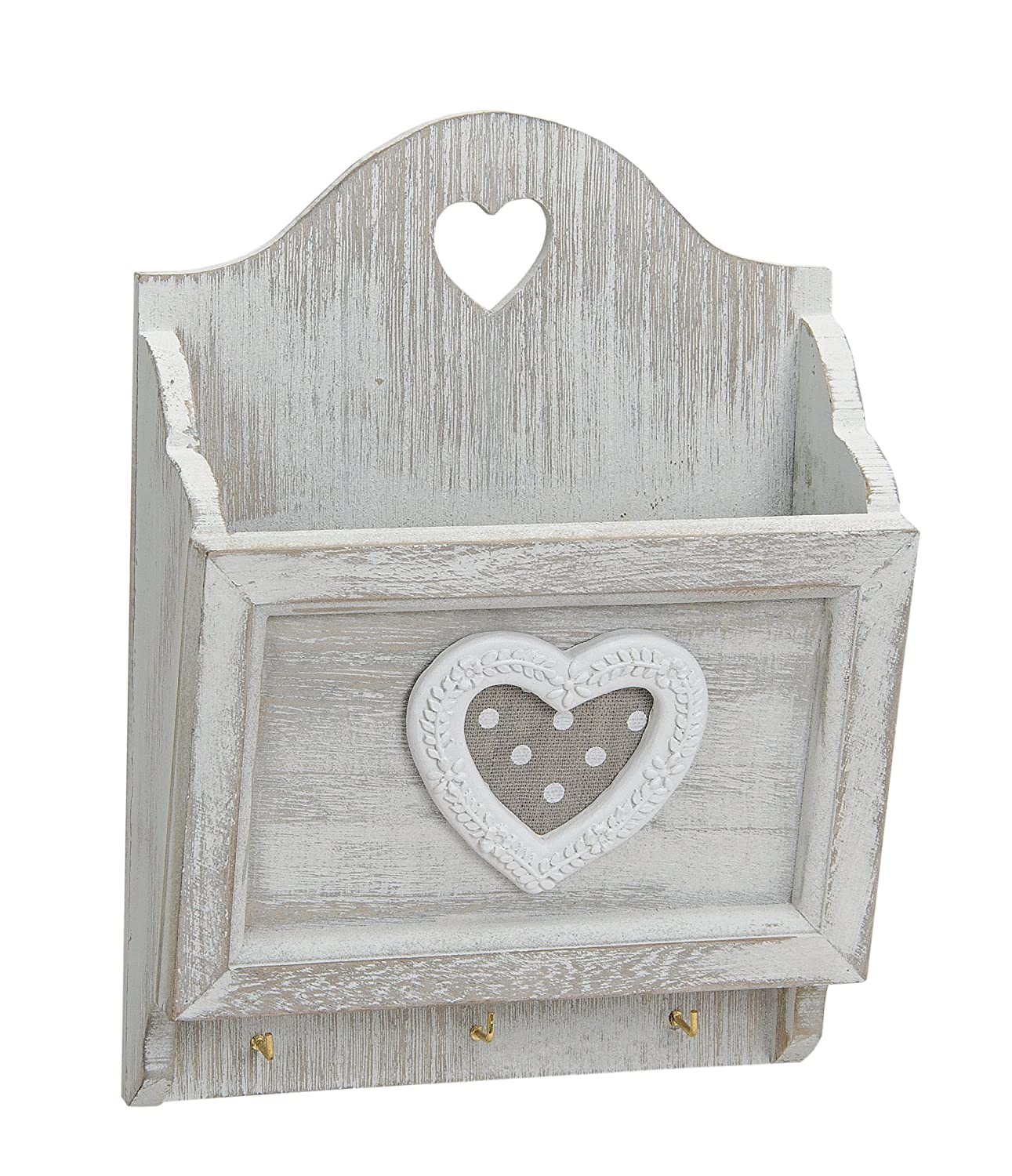 Attractive Wooden Letter Rack with Hooks for Hanging in Country House Style Key Holder no name