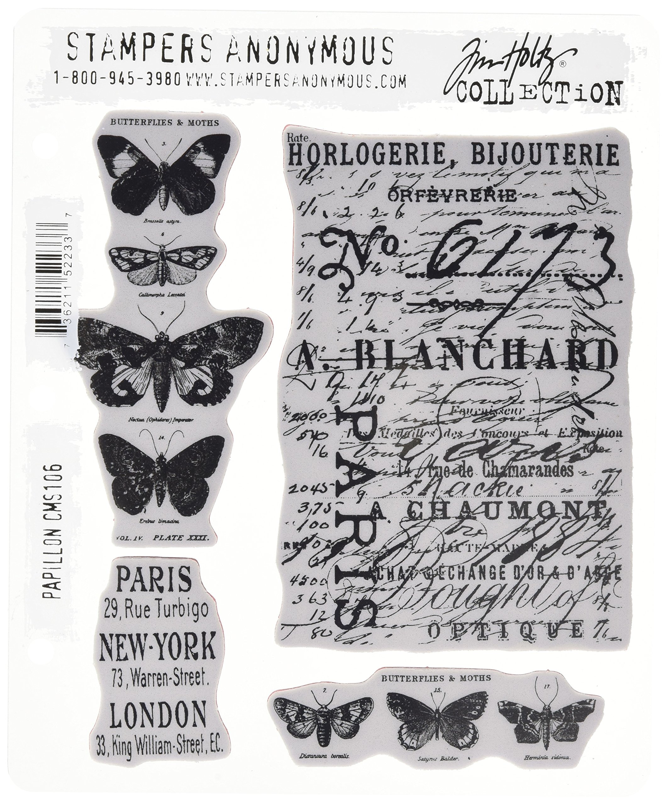 Stampers Anonymous Tim Holtz Cling Rubber Stamp Set, Papillon CMS106