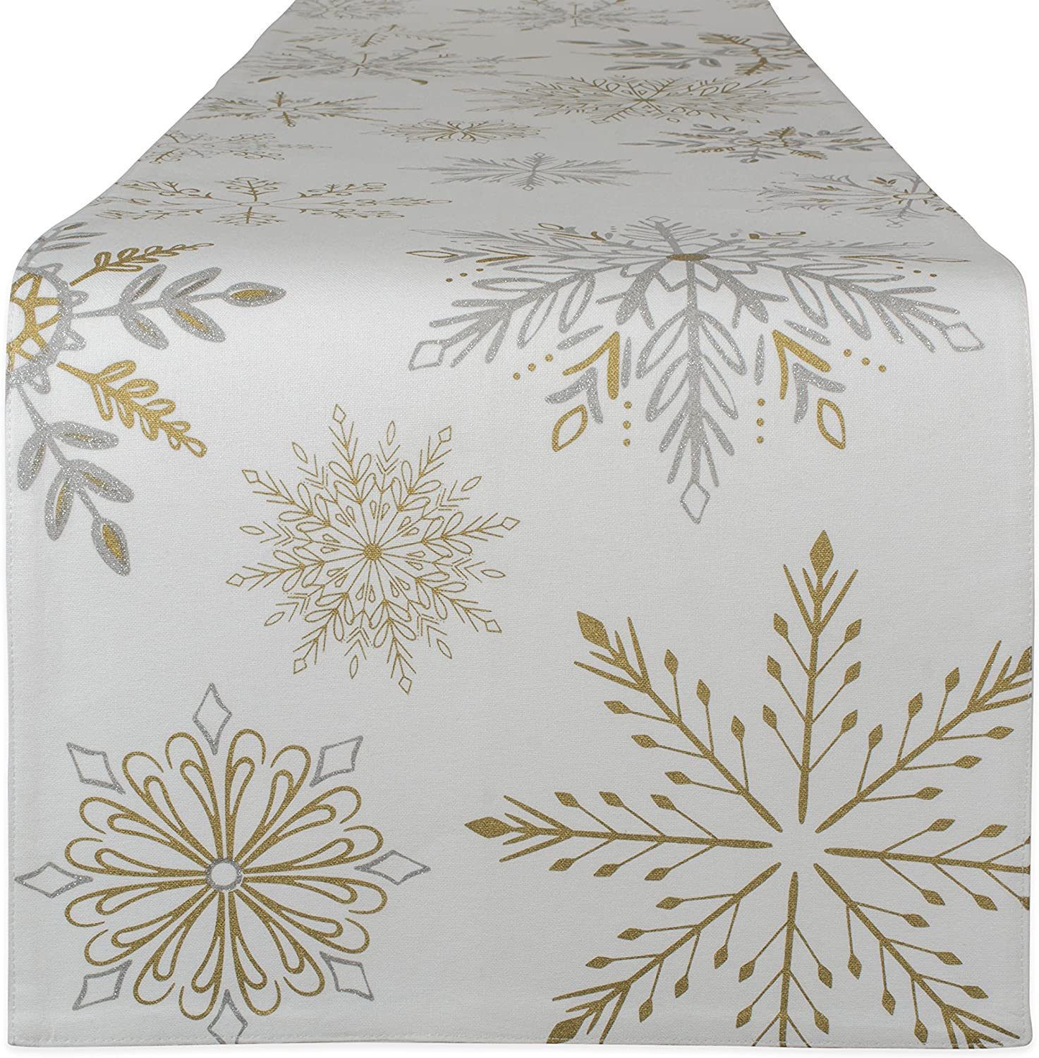 """DII 100% Cotton, Machine Washable, Printed Kitchen Table Runner for Dinner Parties, Christmas and Holidays Snowflakes, 14x72 Runner-14 x 72"""""""