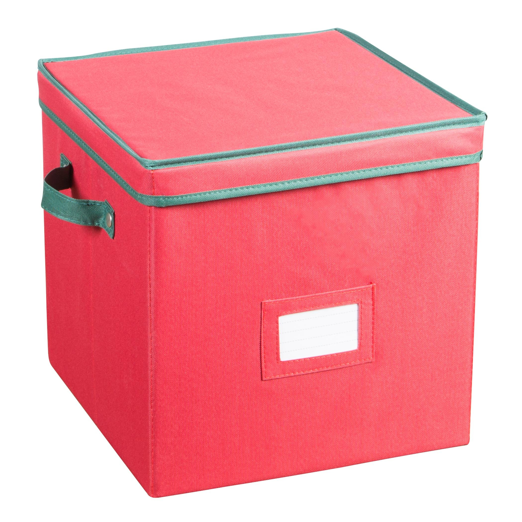 Holiday Ornaments Storage Cube with 64 Individual Compartments - Made with Non-Woven Polypropylene Fabric - Removable Top and Convenient Handle.