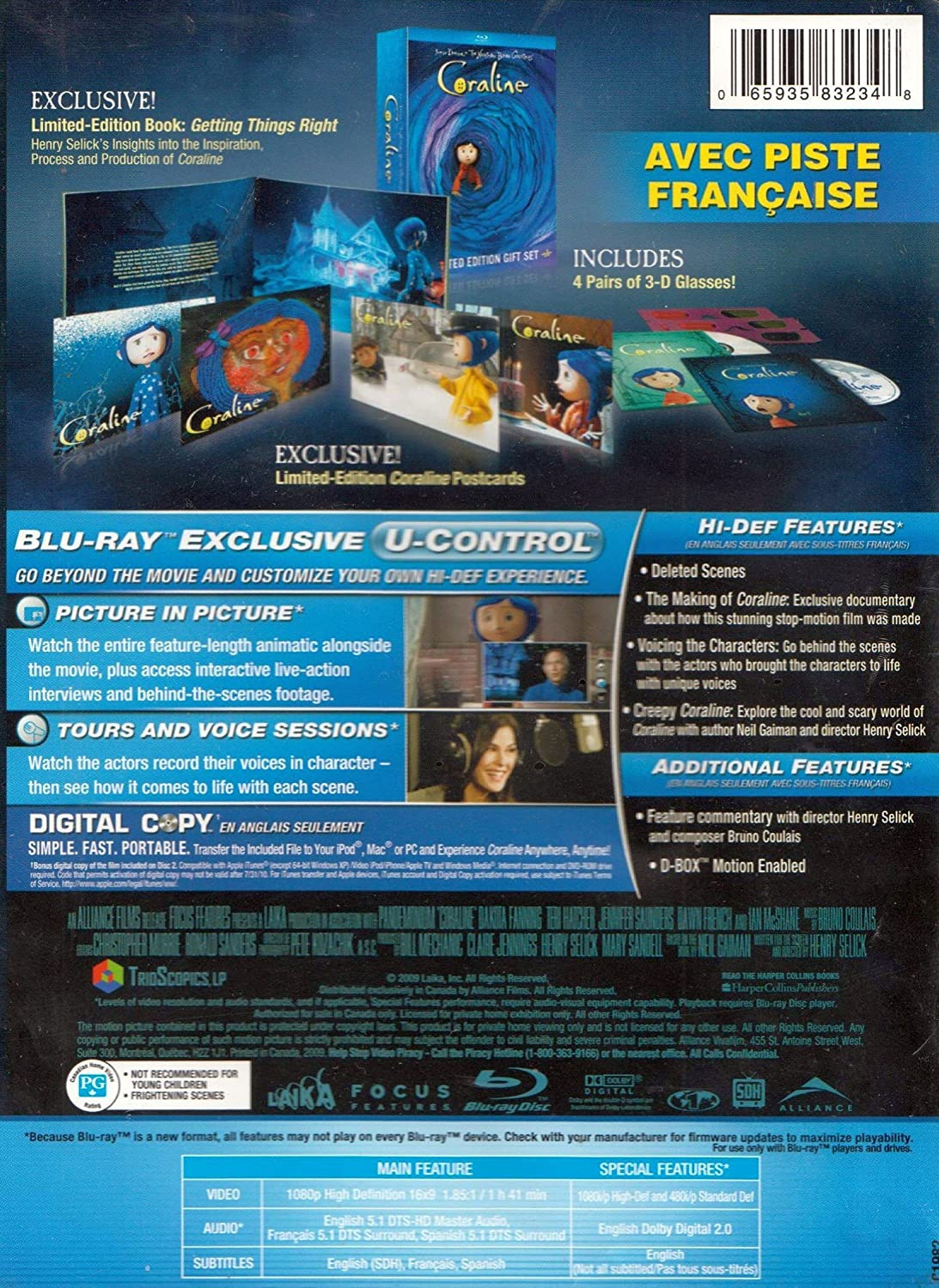 Amazon Com Coraline Limited Edition Gift Set Blu Ray Dakota Fanning Teri Hatcher Jennifer Saunders Dawn French Keith David Henry Selick Claire Jennings Bill Mechanic Mary Sandell Henry Selick Movies Tv