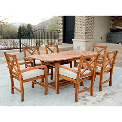 f0736aaa6f Image Unavailable. Image not available for. Color: WE Furniture 7 Piece  X-Back Acacia Patio Dining Set ...