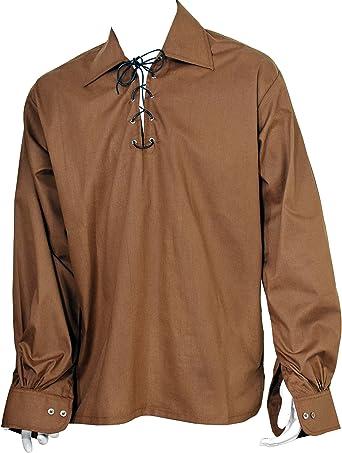 Camisa escocesa marrón Jacobite Ghillie Kilt, con cuerda de cuero: Amazon.es: Ropa y accesorios