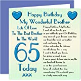 Brother 65th Happy Birthday Card