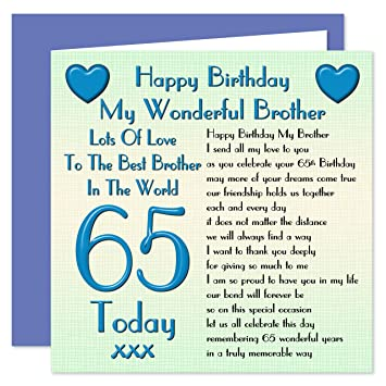 Brother 65th Happy Birthday Card