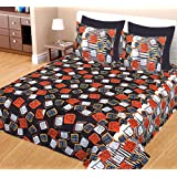 Kuber Industries 100 percent Cotton Abstract 144 TC Double Bed sheet with 2 Pillow Covers (Coffee), CTKTC13542