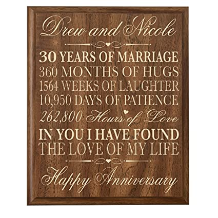 Image Unavailable. Image not available for. Color: LifeSong Milestones Personalized 30th Wedding Anniversary Gift ...
