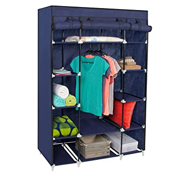 Best Choice Products 53u0026quot; Portable Closet Storage Organizer Wardrobe Clothes  Rack With Shelves Blue