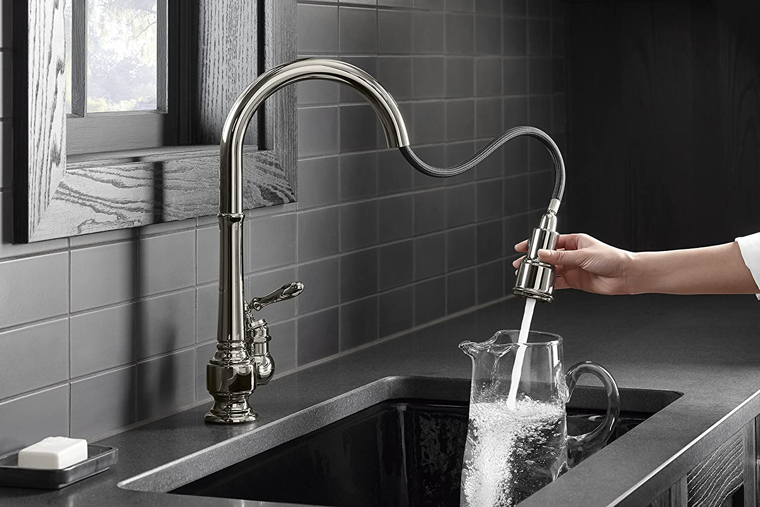 Kohler K-99260-VS Artifacts Single-Hole Kitchen Sink Faucet with 17 ...