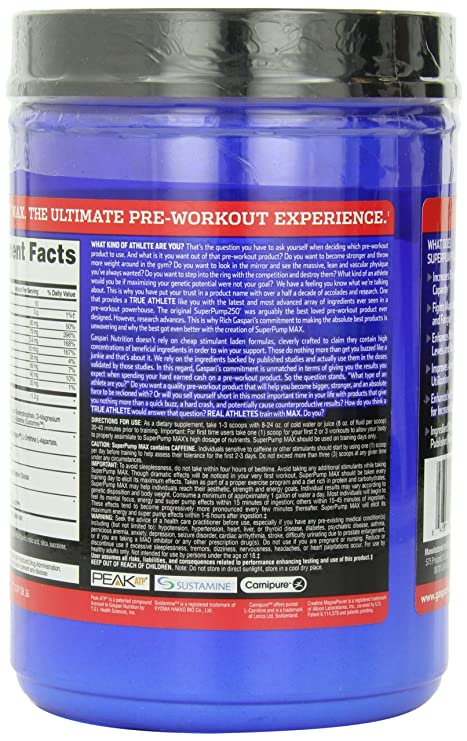 Gaspari Nutrition SuperPump MAX 640 g Fruit Punch Pre-Workout Drink Powder: Amazon.es: Deportes y aire libre