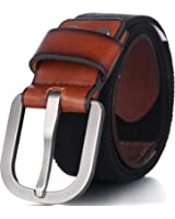 Men's Elastic Belt, Leather Front - Adjustable Stretch Strap - by Marino Ave
