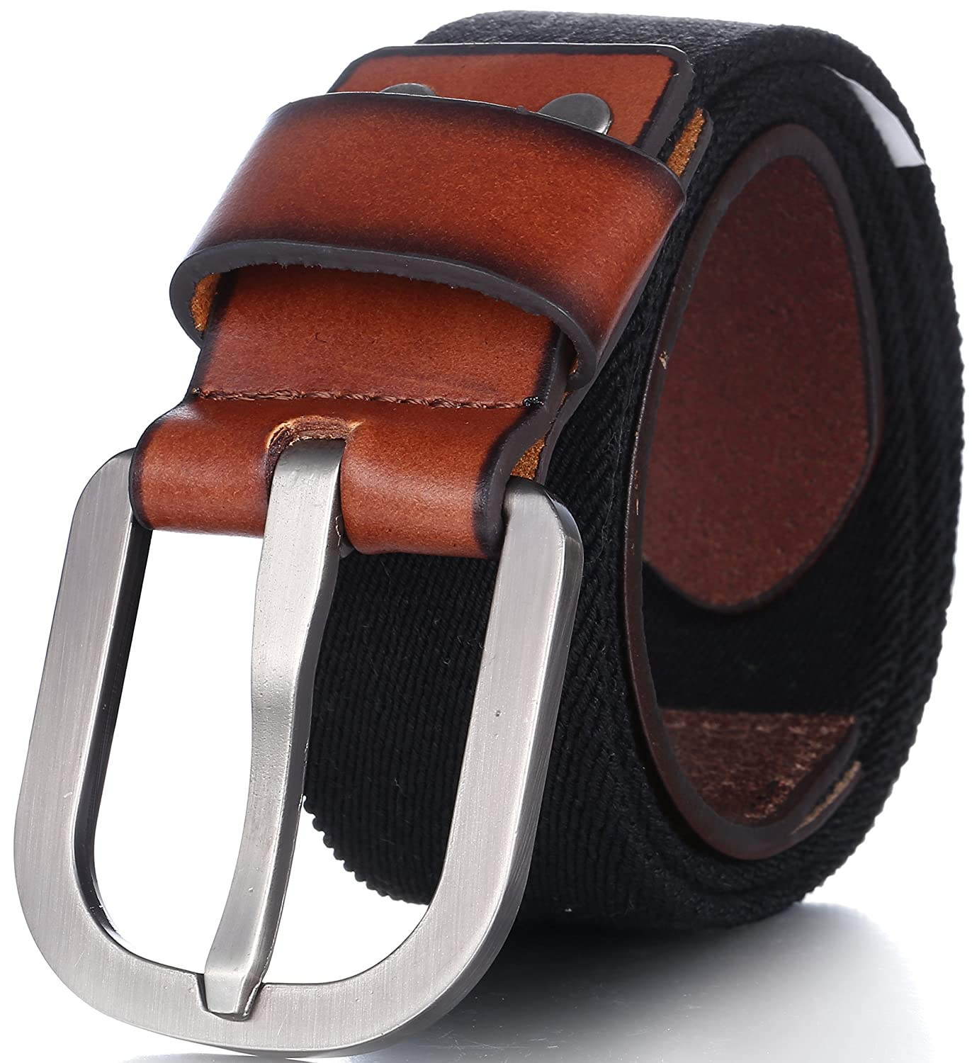 by Marino Ave Adjustable Stretch Strap Leather Front Men/'s Elastic Belt