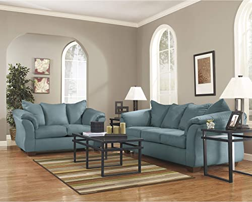 Flash Furniture Signature Design by Ashley Darcy Living Room Set in Sky Microfiber