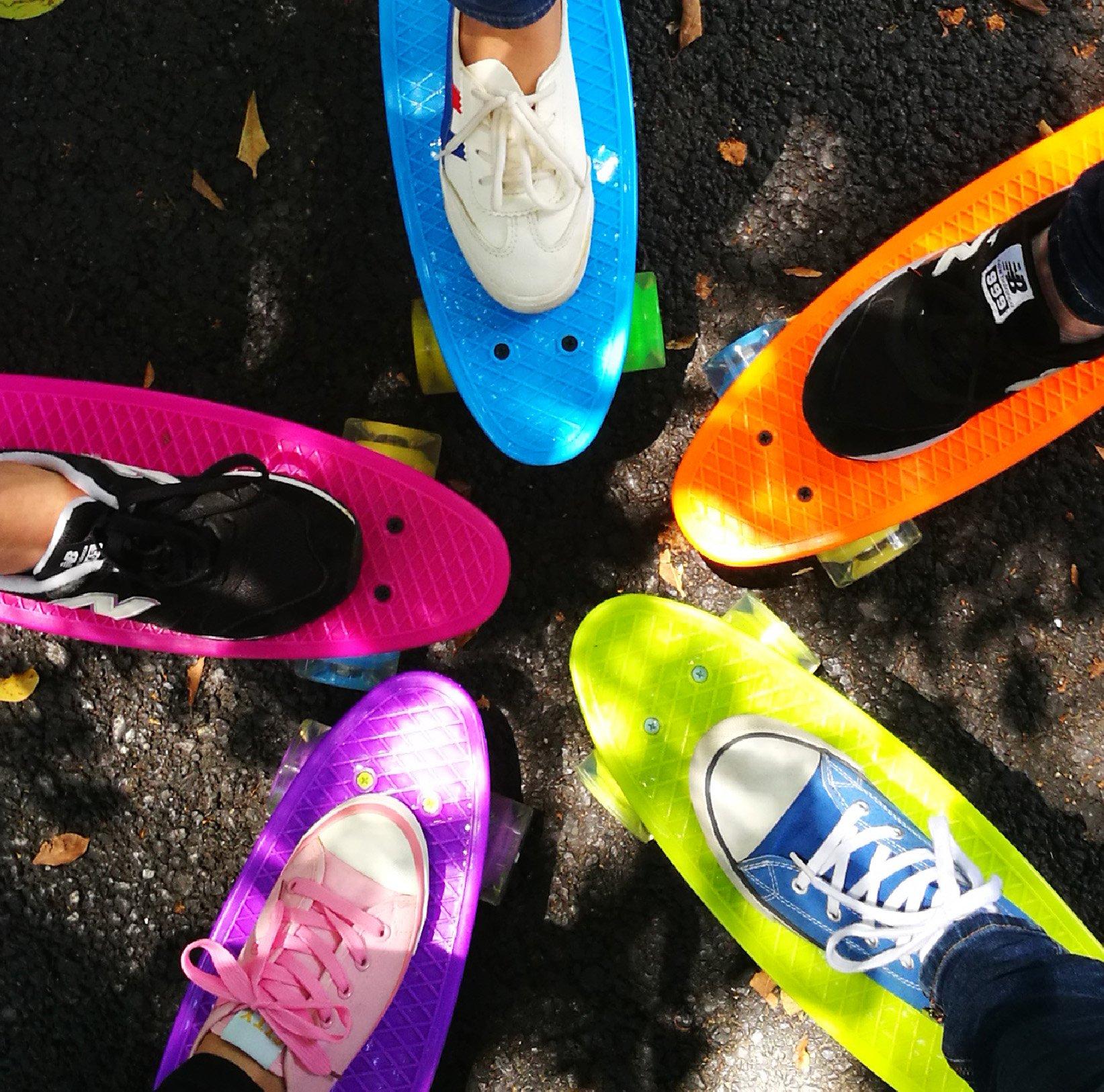 Merkapa 22'' Complete Skateboard with Colorful LED Light Up Wheels for Beginners (Orange)