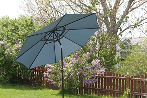 Pebble Lane Living 9 Vented Patio Market Umbrella with Tilting and Crank Open – Slate Blue