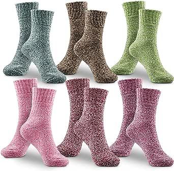WOSTOO Mujer Invierno Cálidos Calcetines, Premium Calidad 6 Pack Grosor algodón de Punto Calcetines Mujer Colores algodón Calcetines Talla Única Transpirable cálido Suave: Amazon.es: Hogar