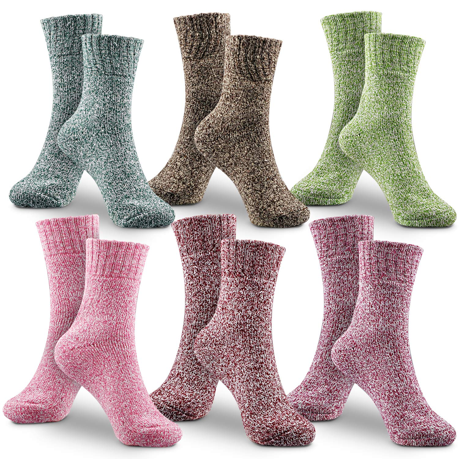 6 Pairs Womens Winter Socks Vintage Style Colorful Winter Warm Thick Knit Wool Cozy Crew Socks