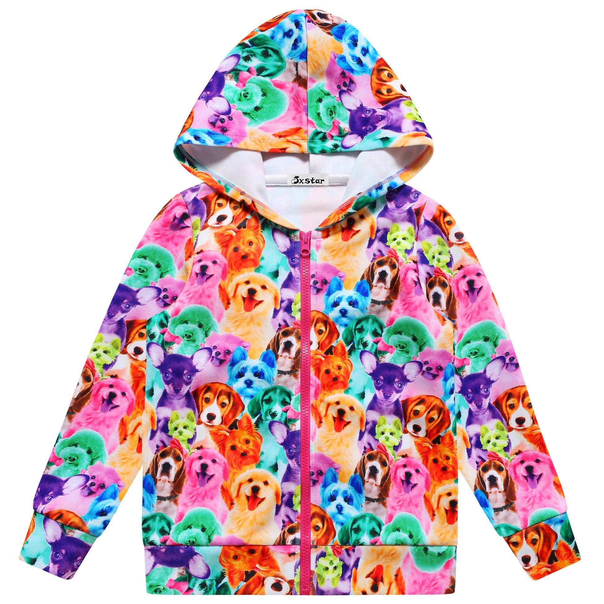 Jxstar Girl Bomber Jacket Rainbow Dog Print Cartoon Long Sleeve Full Zip Pocket