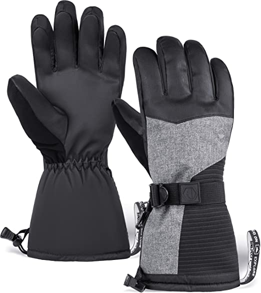 Ski Snowboard Gloves Mens Womens Winter Sports Waterproof Windproof Warm Black