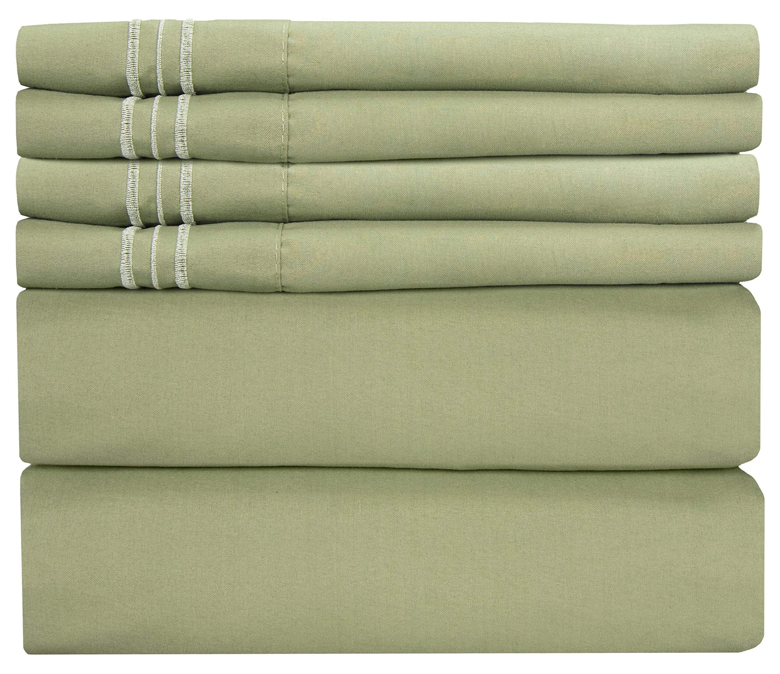 Full Size Sheet Set - 6 Piece Set - Hotel Luxury Bed Sheets - Extra Soft - Deep Pockets - Easy Fit - Breathable & Cooling Sheets - Wrinkle Free - Green - Sage Green Bed Sheets - Fulls Sheets - 6 PC by CGK Unlimited